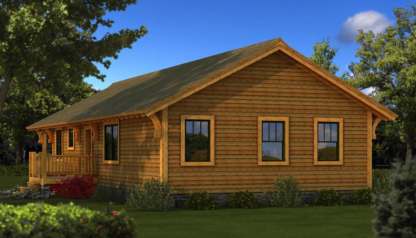 Charming Bungalow Cabin Part - 11: Rear Elevation: Bungalow Rear Elevation - Southland Log Homes