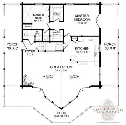Home Floor Plans 3445 Open Floor Plan Log Homes Swiss Chalet Log Cabin
