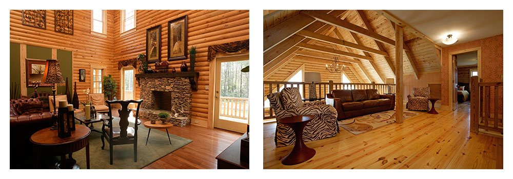 Log Cabin Kits and Log Cabin Homes - Interior Photos