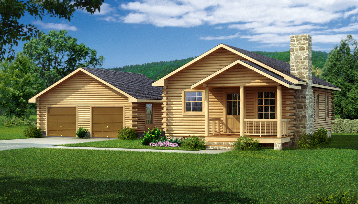 Amazing photo of Lee II: Log Cabin Kit Plans & Information Southland Log Homes with #997B32 color and 1400x800 pixels