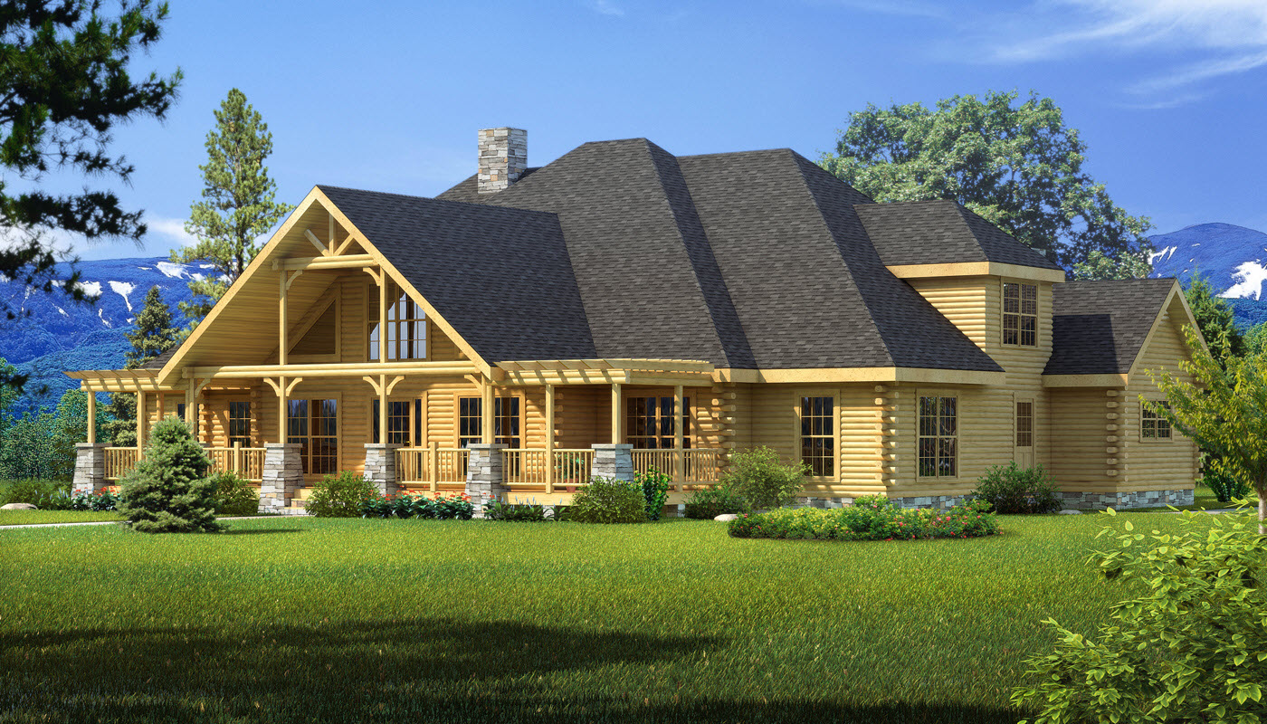 Longleaf lodge plans information southland log homes for Lodge home designs