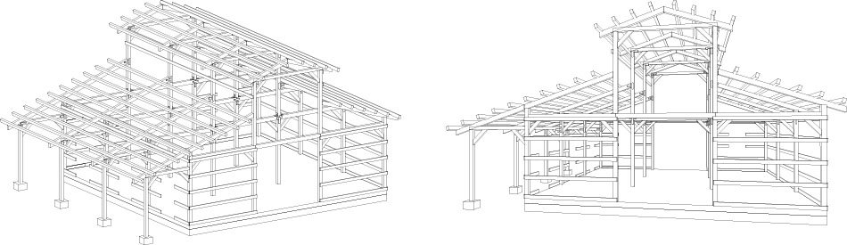 Timber frame wood barn plans kits southland log homes A frame barn plans
