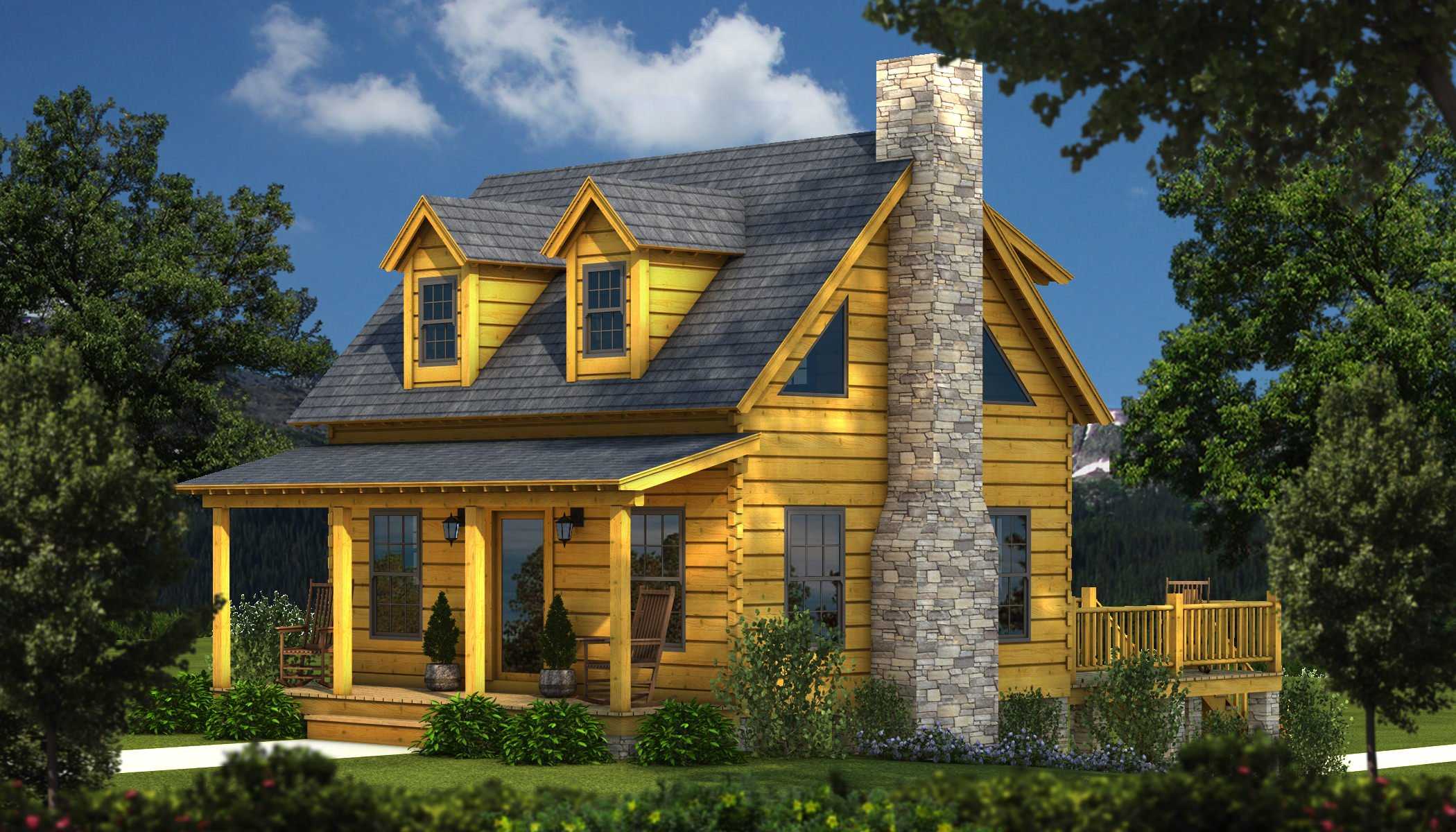Auburn plans information southland log homes for Log house plans with photos