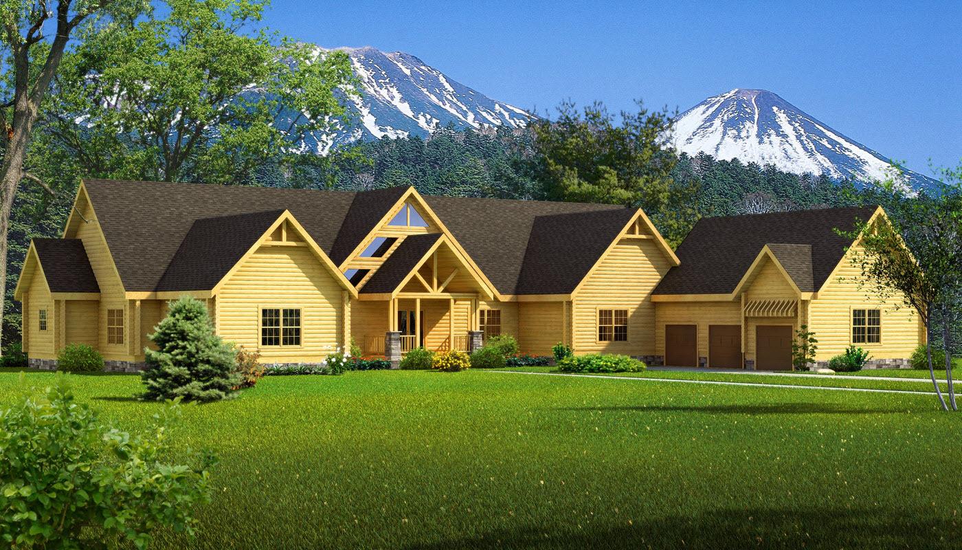 Big sky plans information southland log homes for Large log cabin homes