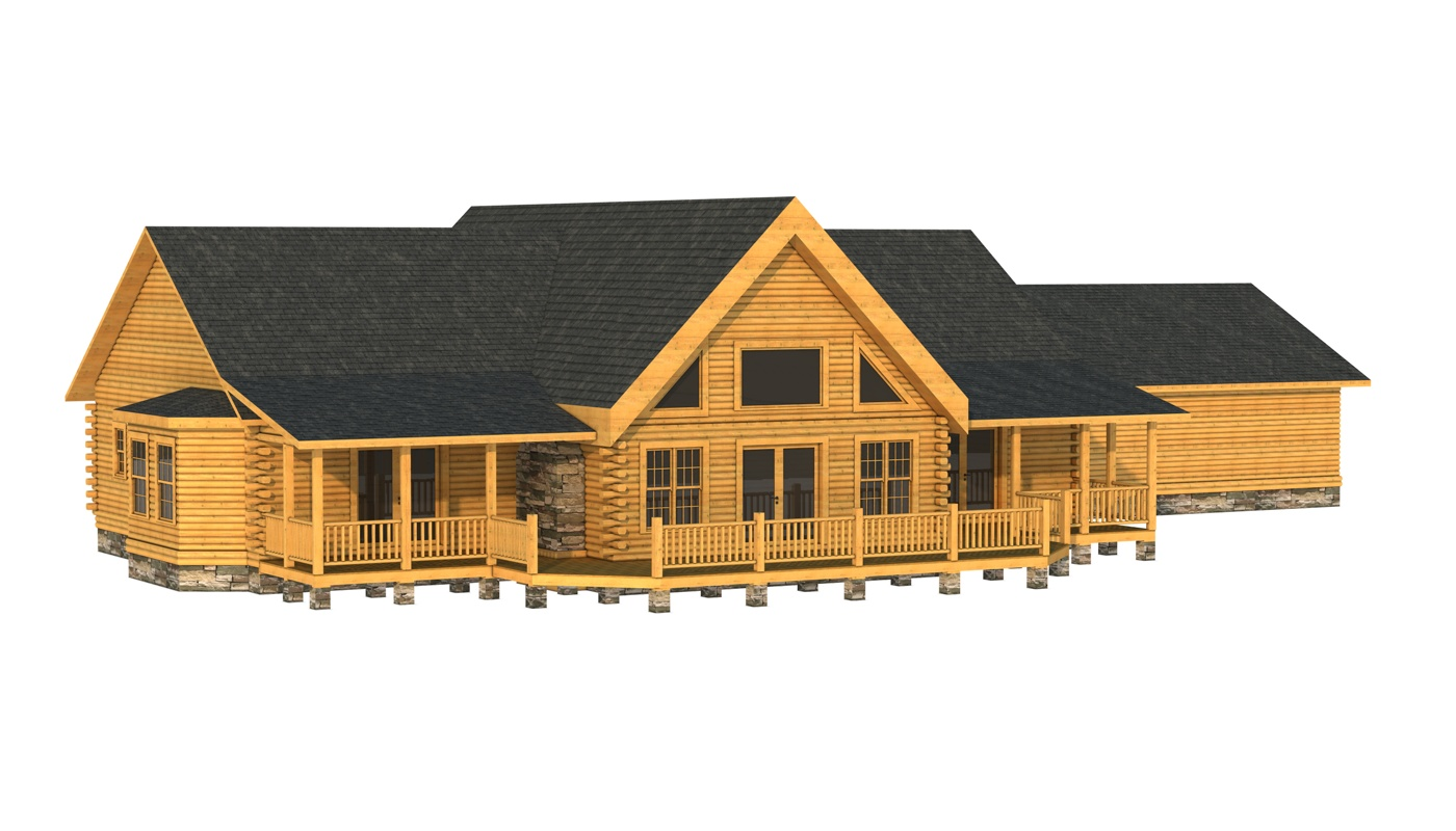 Lincoln plans information southland log homes for Log home plans with garage