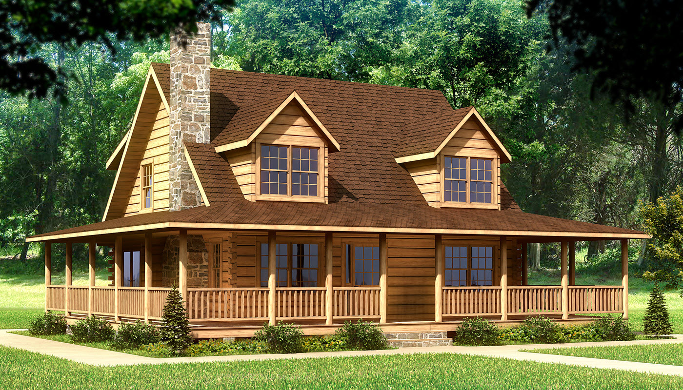 Beaufort plans information southland log homes for Log and stone home plans