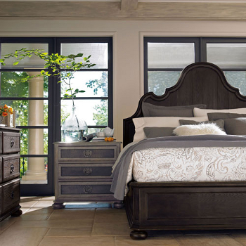 {Belgian Oak Panel Bed from Bernhardt}