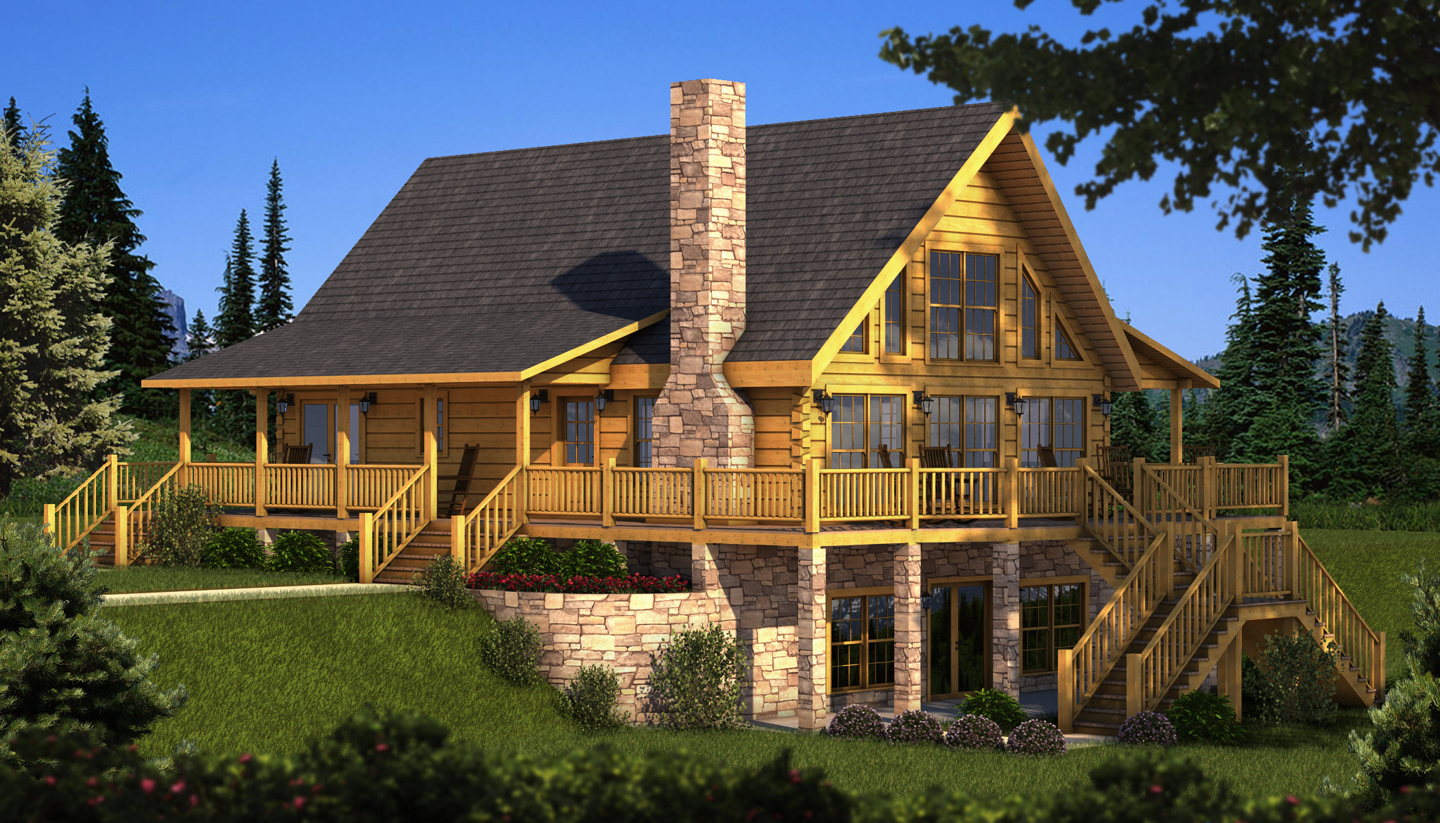 Berkshire plans information southland log homes for Log house plans with photos