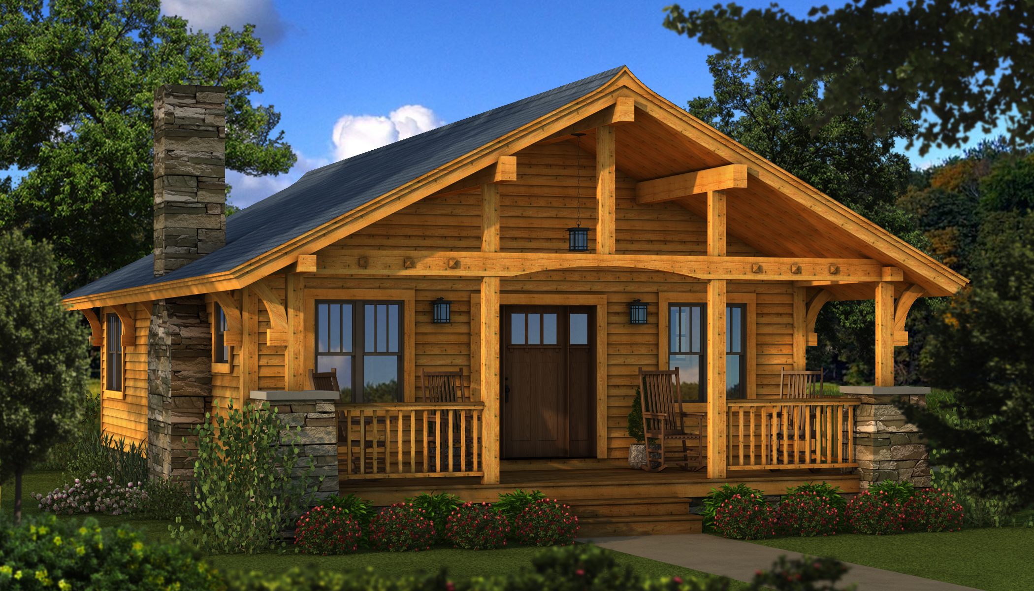 Tiny Log Home Designs: Bungalow 2 – Plans & Information