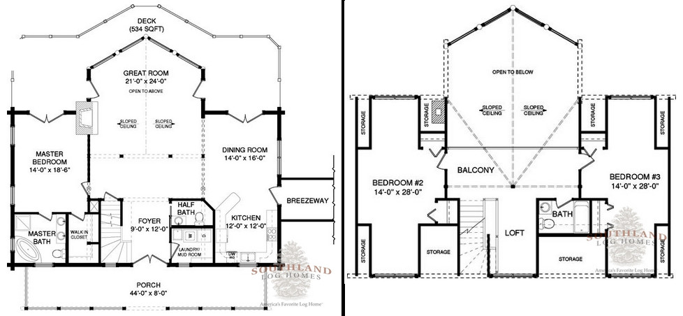 The Clay from Southland Log Homes - Floorplans