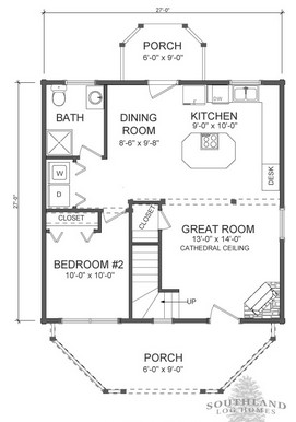 The Salem First Floor Floorplan from Southland Log Homes