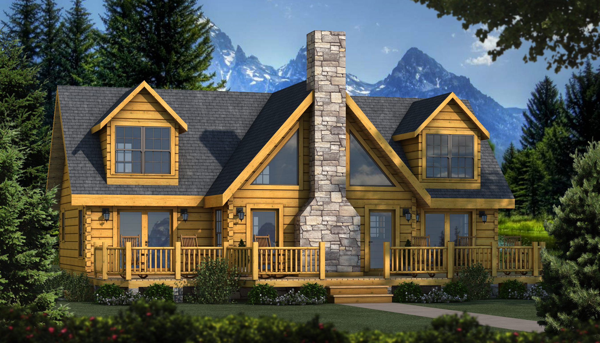 Grand lake plans information southland log homes for Cabin models plans