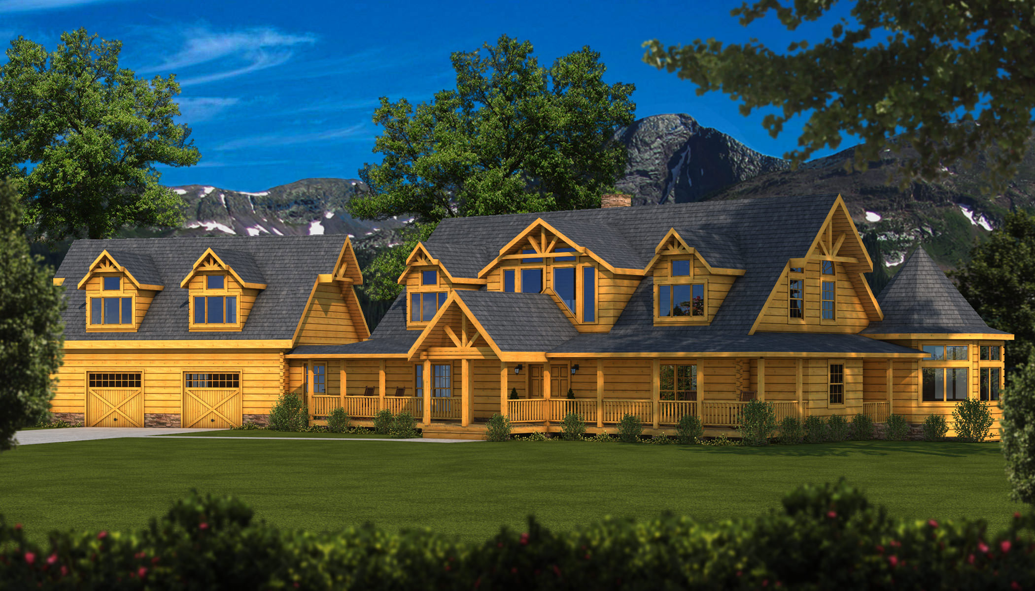 Floor Front Elevation View : Grand view plans information southland log homes