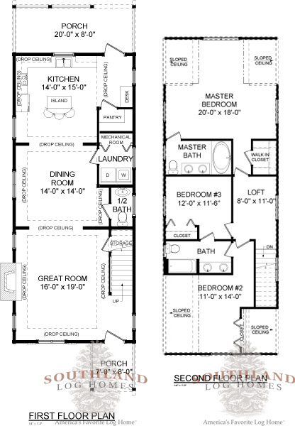 The Haven Log Home Floorplan from Southland Log Homes