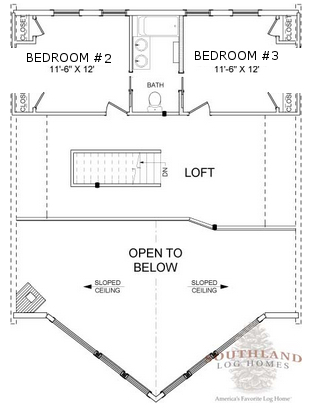 The Henderson Second Floor Floorplan - Southland Log Homes