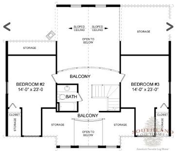Second Floor Floorplan: The Orangeburg from Southland Log Homes