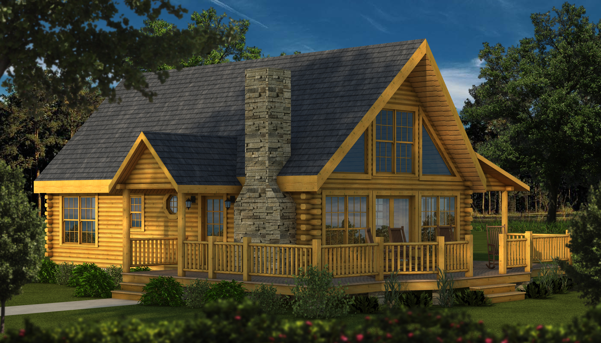 Rockbridge 2 plans information southland log homes for Cabin models plans