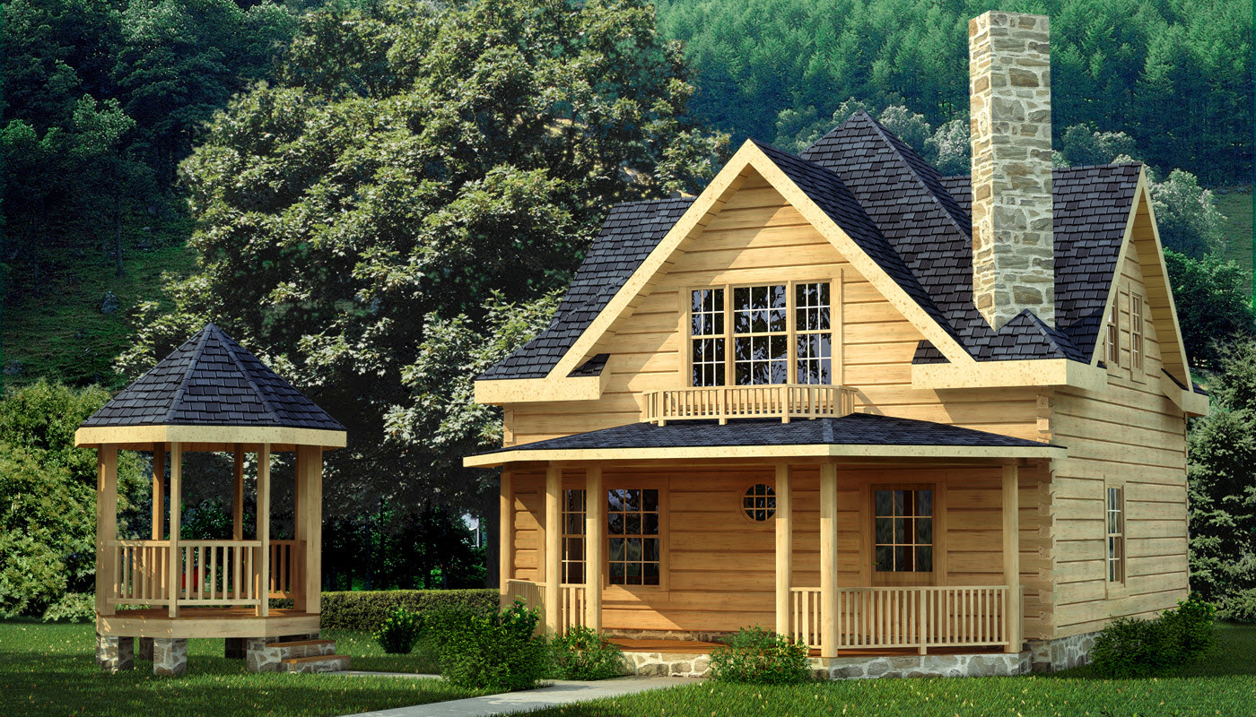 Salem plans information southland log homes for Cabin models plans