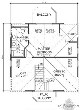 The Salem Second Floor Floorplan from Southland Log Homes