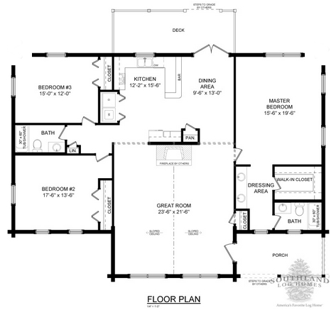 The Texan Floorplan from Southland Log Homes